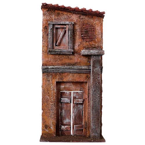 Fachada de casa com porta e janela cenário para presépio com figuras altura média 9 cm, medidas: 32x15x5 cm 1