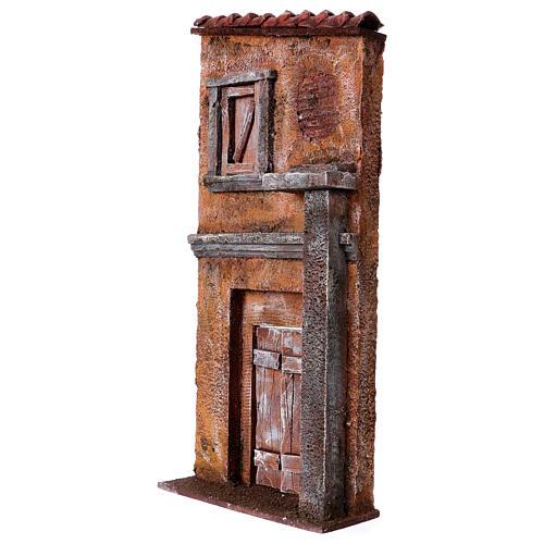 Fachada de casa com porta e janela cenário para presépio com figuras altura média 9 cm, medidas: 32x15x5 cm 2