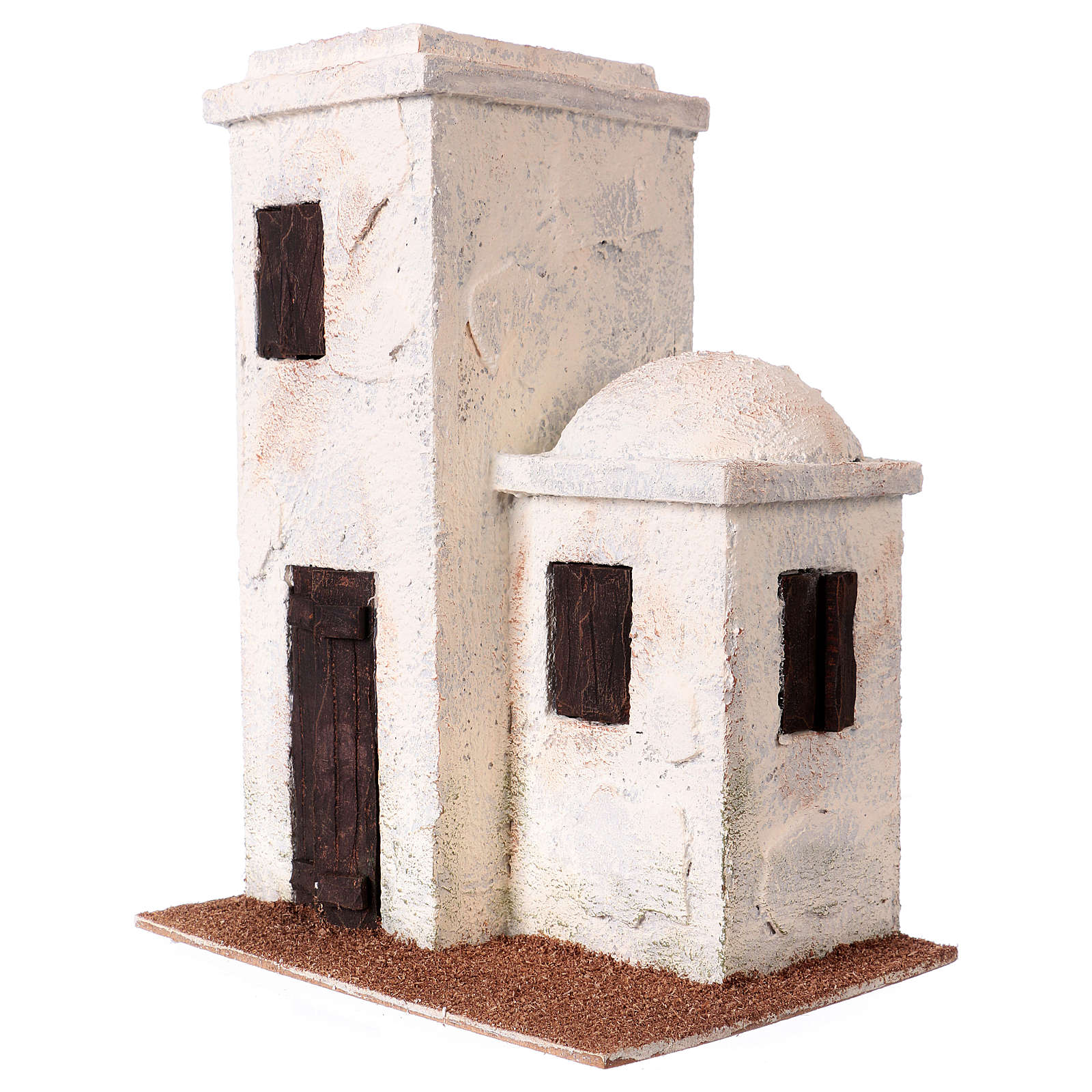 Nativity scene setting, Palestinian house with porch 25x20x15 cm for 9 cm Nativity scene 4