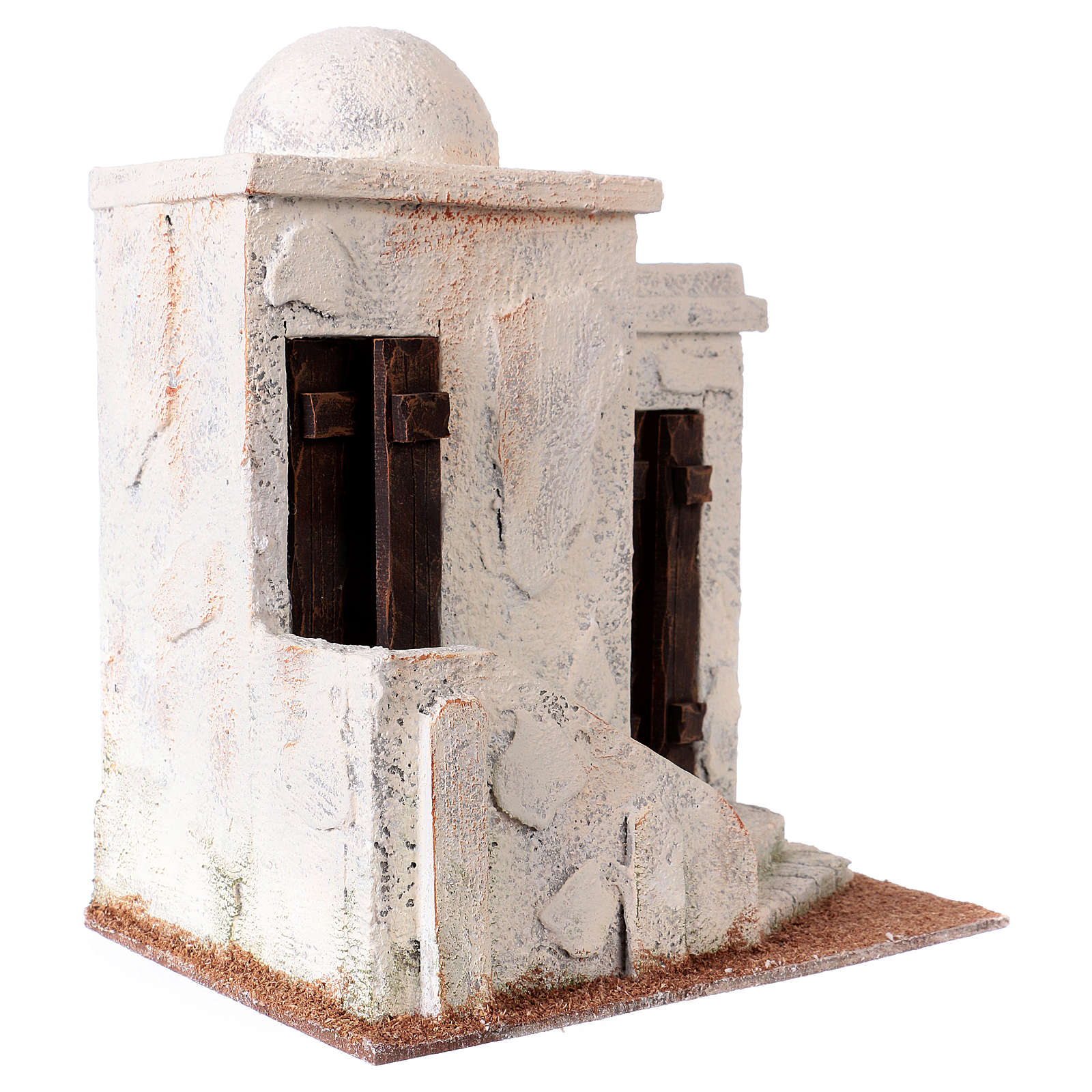 Nativity scene setting, Palestinian house with 2 doors and stairs 25x20x15 cm for 9-10 cm Nativity scene 4