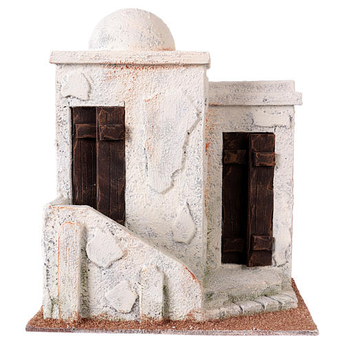 Nativity scene setting, Palestinian house with 2 doors and stairs 25x20x15 cm for 9-10 cm Nativity scene 1