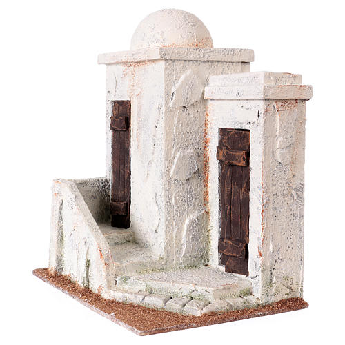 Nativity scene setting, Palestinian house with 2 doors and stairs 25x20x15 cm for 9-10 cm Nativity scene 2