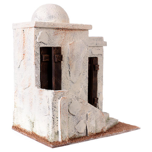 Nativity scene setting, Palestinian house with 2 doors and stairs 25x20x15 cm for 9-10 cm Nativity scene 3