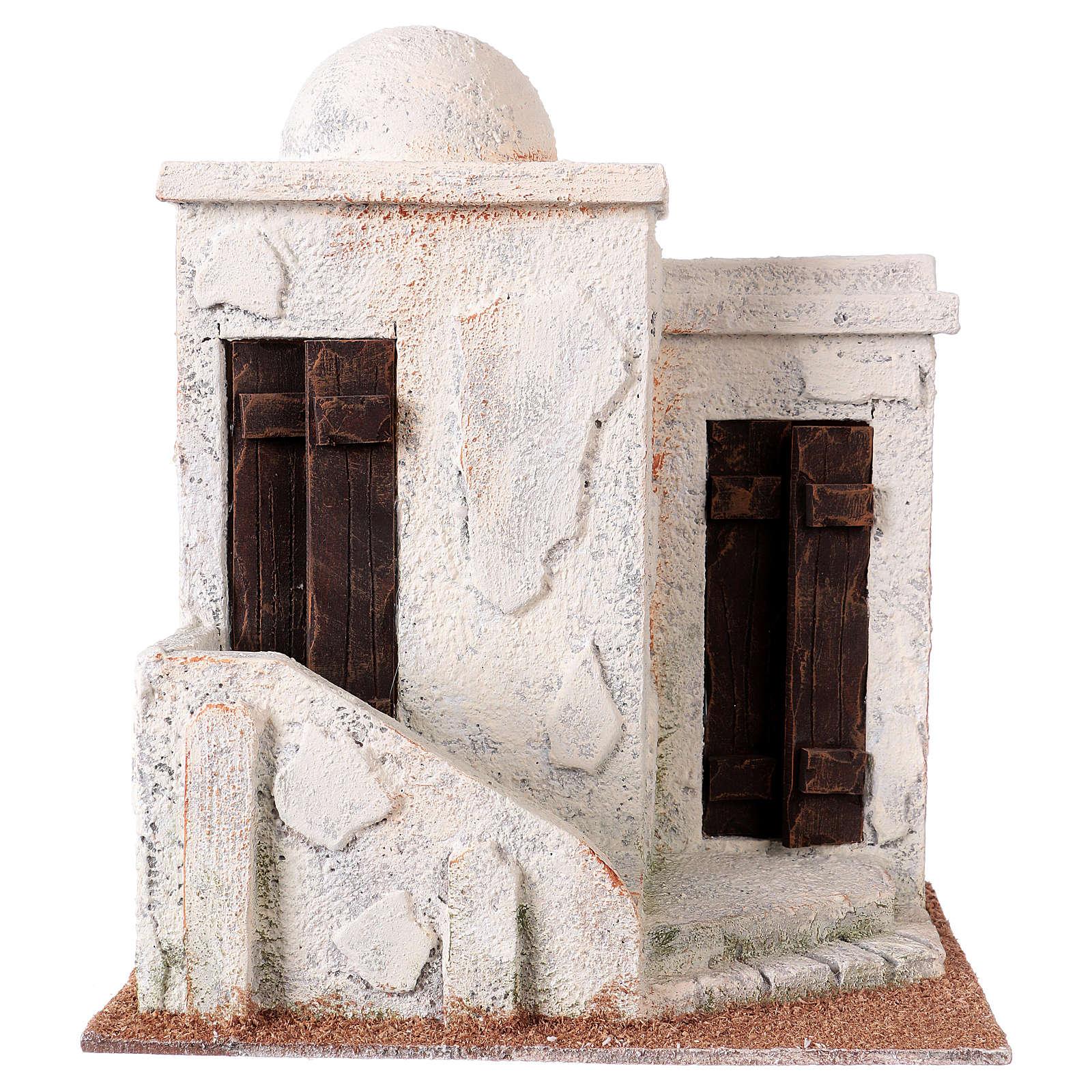 Maisonnette 2 entrées et escalier style palestinien 25x20x15 cm pour crèches de 9-10 cm 4