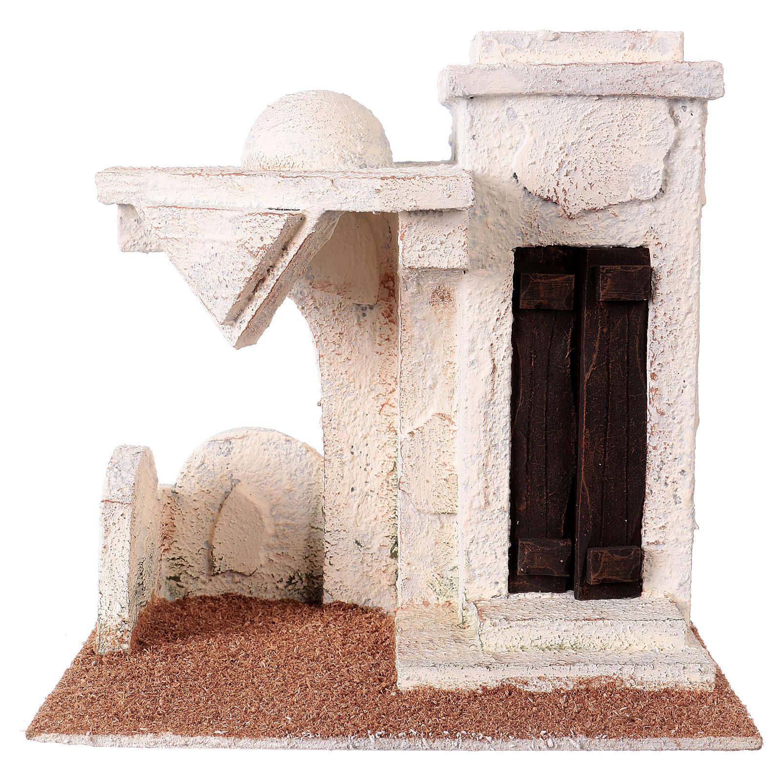 Casetta tettoia laterale e ingresso con gradini 20x20x15 cm per presepi 9-10 cm 4
