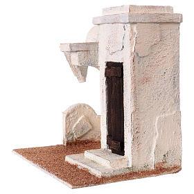 Casetta tettoia laterale e ingresso con gradini 20x20x15 cm per presepi 9-10 cm s2