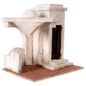 Casetta tettoia laterale e ingresso con gradini 20x20x15 cm per presepi 9-10 cm s3