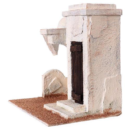 Casetta tettoia laterale e ingresso con gradini 20x20x15 cm per presepi 9-10 cm 2