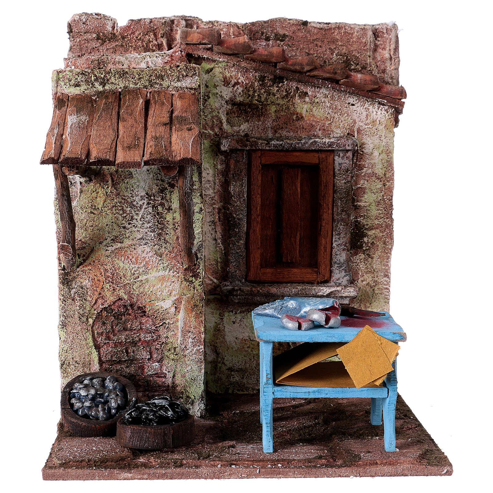 Poissonnier maisonnette pour santons 10-11 cm 20x17x14,5 cm 4