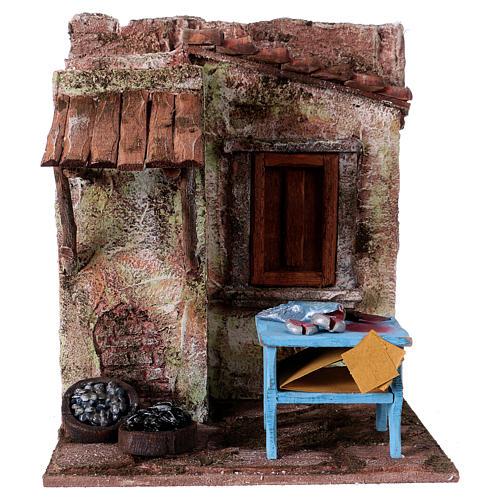 Poissonnier maisonnette pour santons 10-11 cm 20x17x14,5 cm 1