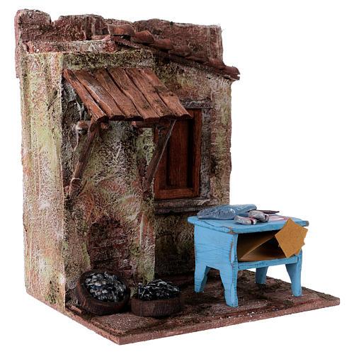 Poissonnier maisonnette pour santons 10-11 cm 20x17x14,5 cm 3