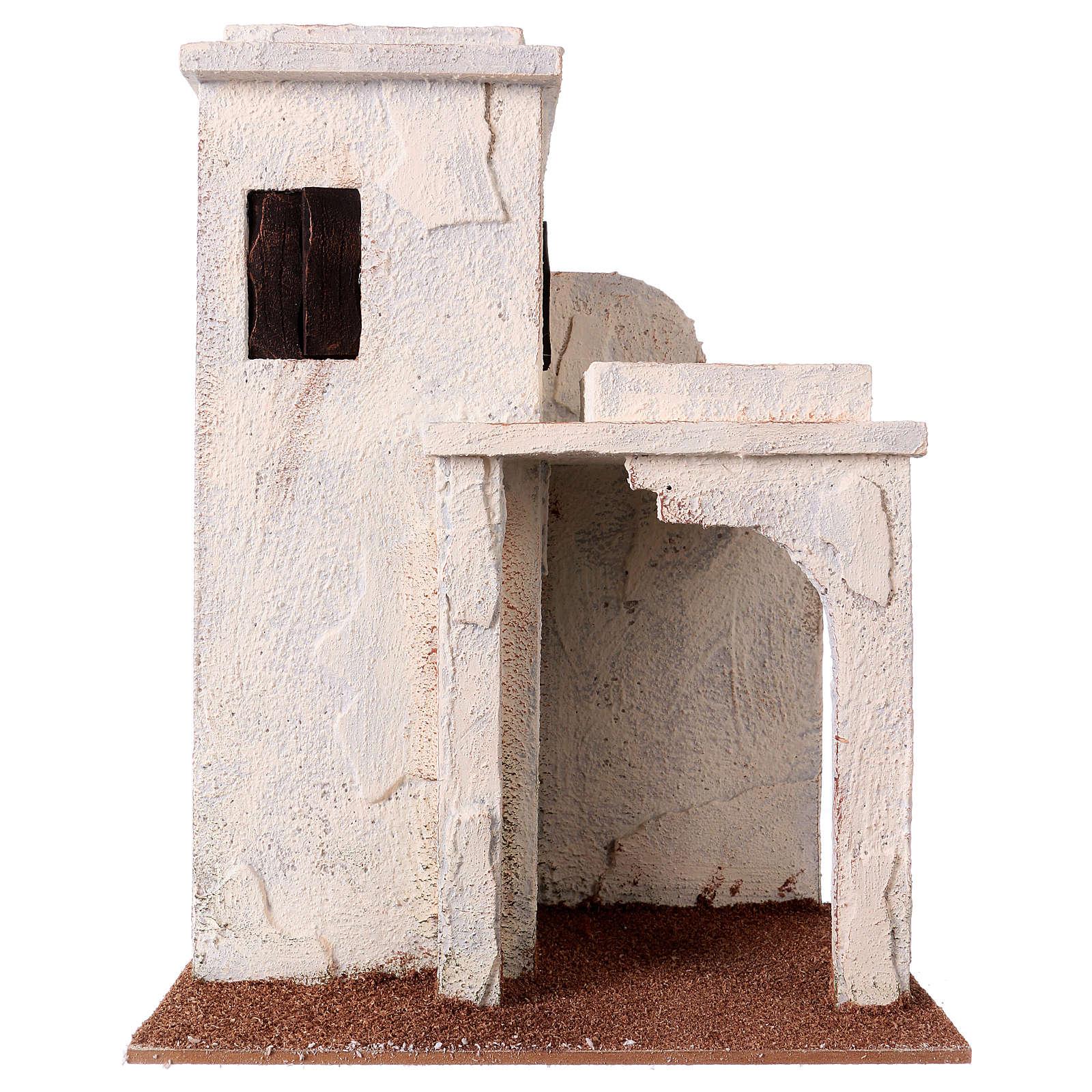 Casetta palestinese con finestre 30x25x15 cm per presepi di 11 cm 4