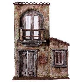 Fachada balcón y puerta ventana 37x26,5x5 cm para belenes 11 cm s1