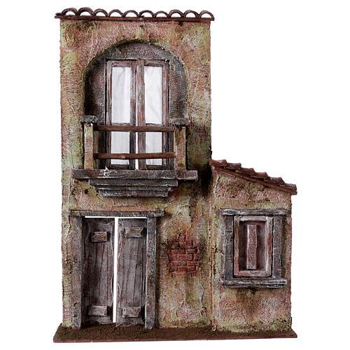 Fachada balcón y puerta ventana 37x26,5x5 cm para belenes 11 cm 1