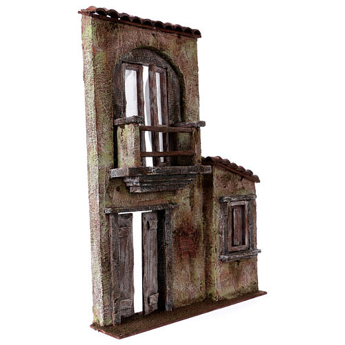 Fachada balcón y puerta ventana 37x26,5x5 cm para belenes 11 cm 3