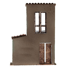 Miniature facade with balcony and door window 37x26.5x5 cm, for 11 cm nativity s4