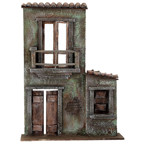 Miniature facade with balcony and door window 37x26.5x5 cm, for 11 cm nativity 1