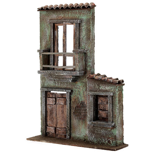Miniature facade with balcony and door window 37x26.5x5 cm, for 11 cm nativity 2