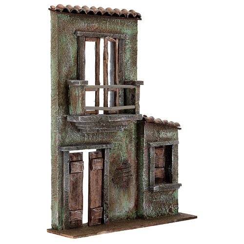 Miniature facade with balcony and door window 37x26.5x5 cm, for 11 cm nativity 3