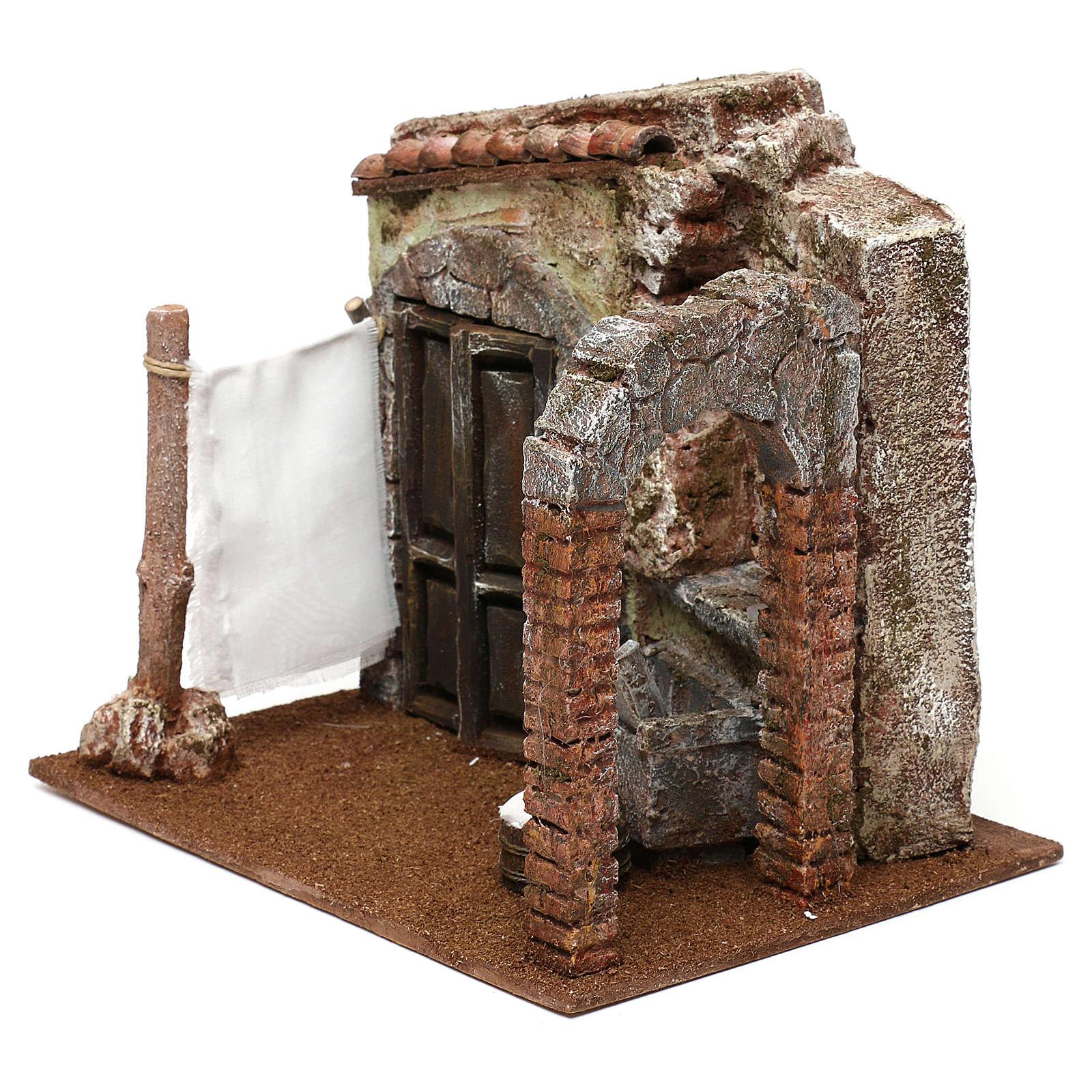 Casa di una lavandaia presepe 12 cm ambientazione 20x25x20 cm  4