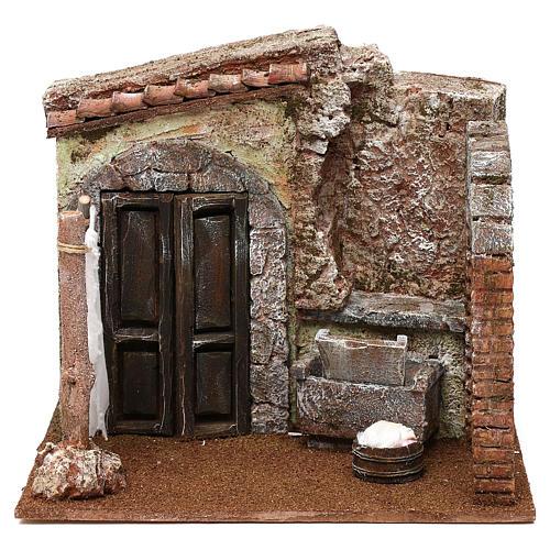 Casa di una lavandaia presepe 12 cm ambientazione 20x25x20 cm  1