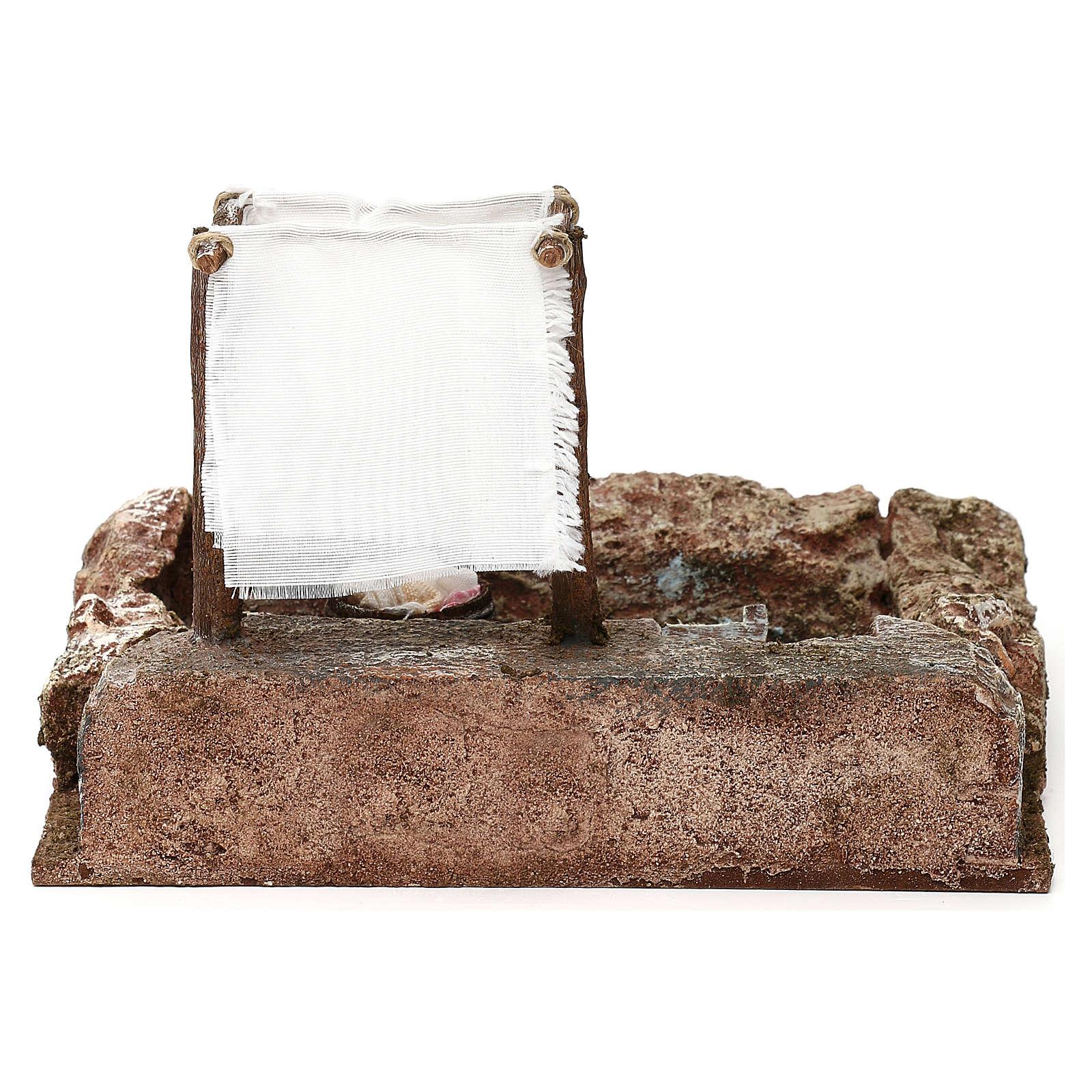 Lavanderia sul fiume presepe 10 cm ambientazione 15x20x15 cm 4