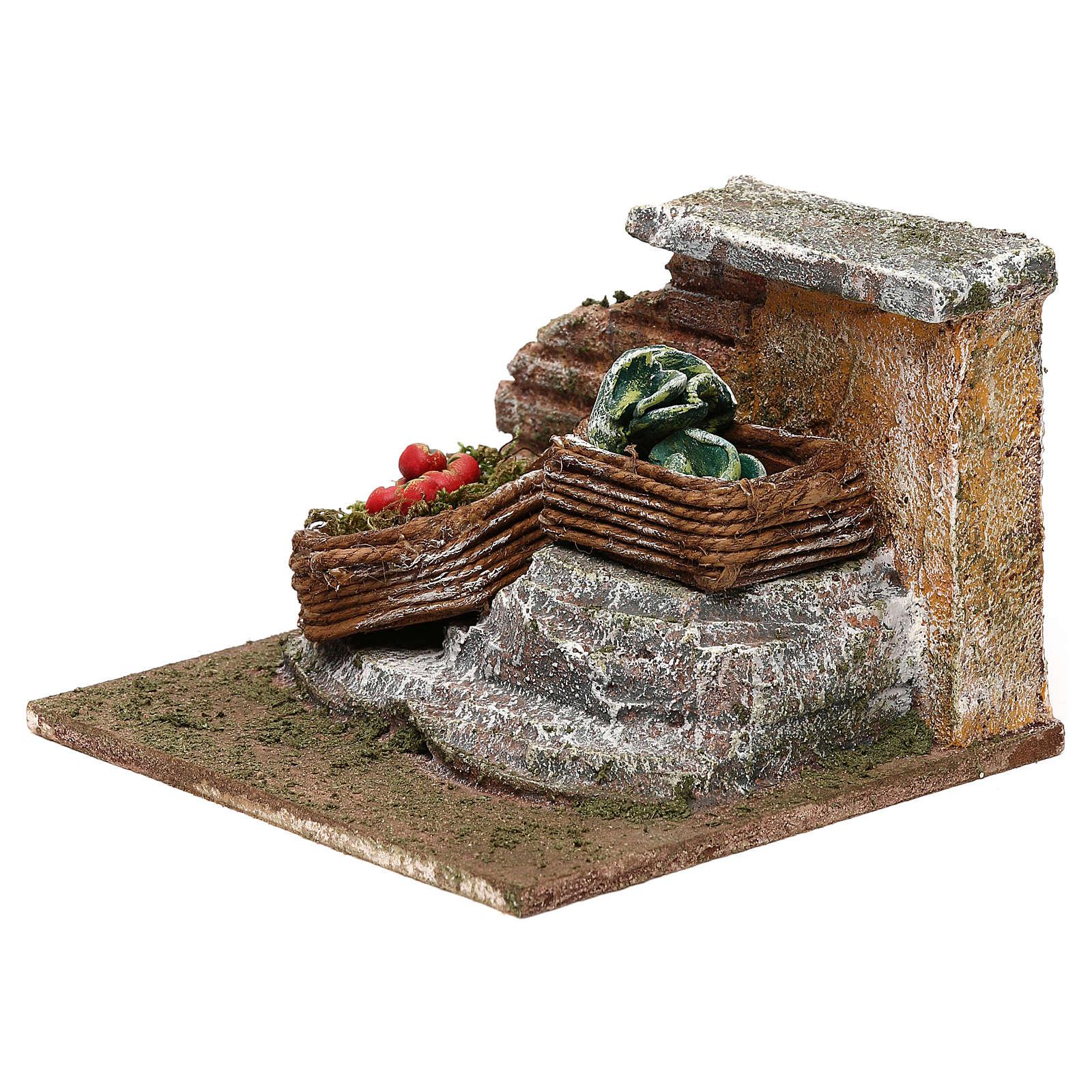 Muro con verdure presepe 12 cm ambientazione 8x12x12 cm 4
