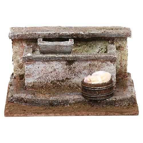 Lavatoio in pietra presepe 10 cm ambientazione 8x12x10 cm 1