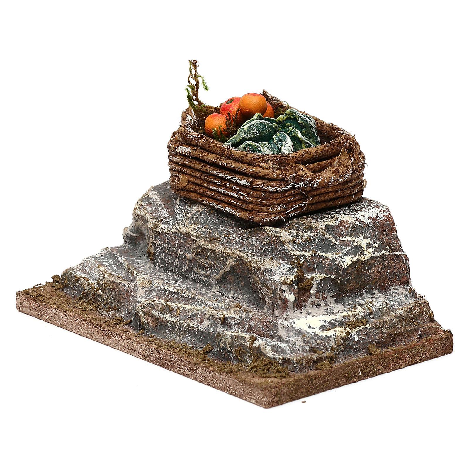 Cassetta su roccia presepe 10 cm ambientazione 5x10x5 cm 4