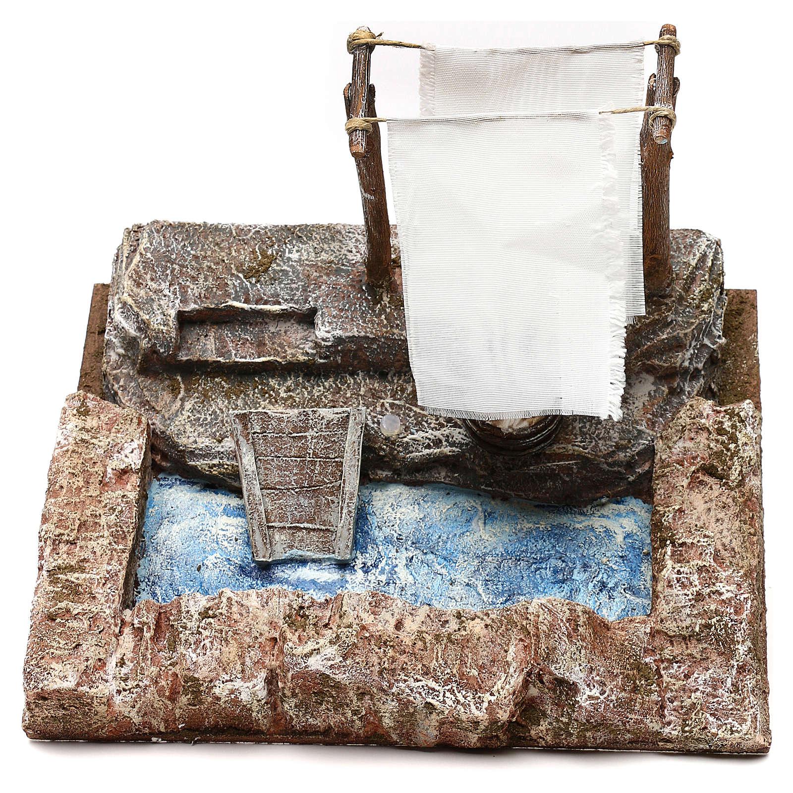Lavanderia con panni presepe 12 cm ambientazione 15x25x15 cm 4
