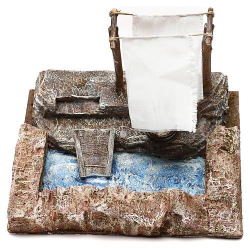Lavanderia con panni presepe 12 cm ambientazione 15x25x15 cm 2