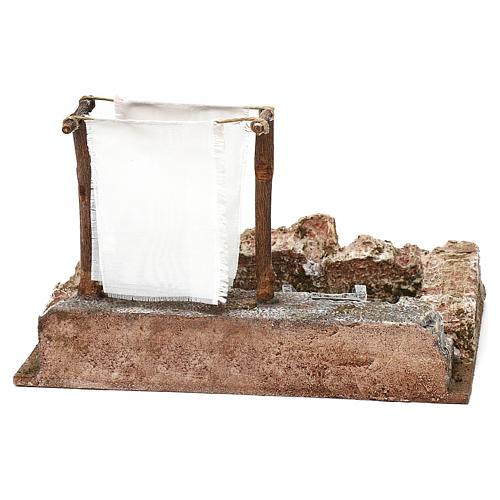 Lavanderia con panni presepe 12 cm ambientazione 15x25x15 cm 5