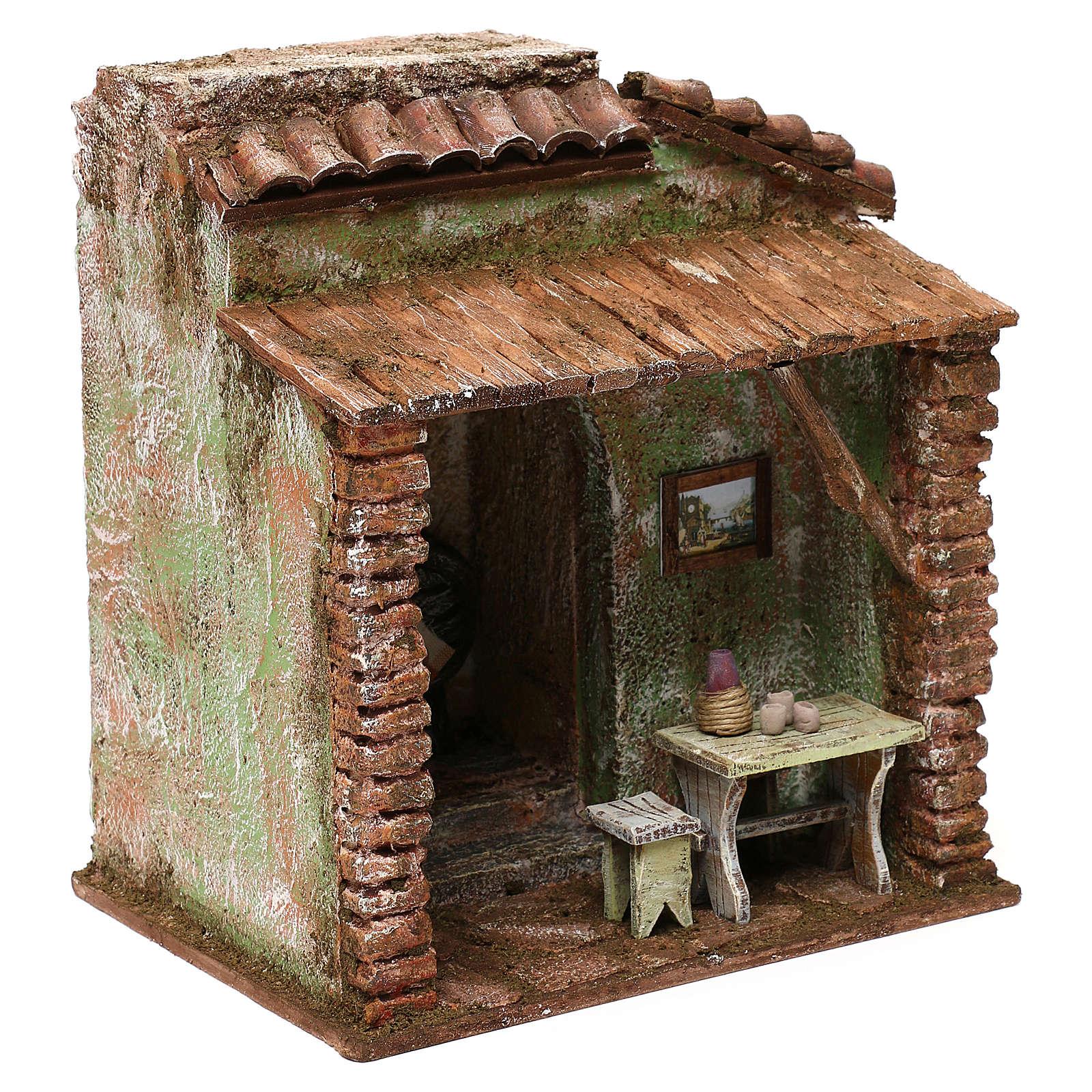Taverna presepe 10 cm ambientazione 20x20x15 cm 4