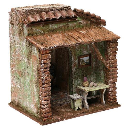 Taverna presepe 10 cm ambientazione 20x20x15 cm 3