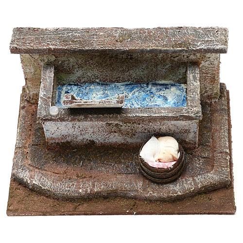 Lavandino con panni presepe 12 cm ambientazione 10x15x15 cm 2