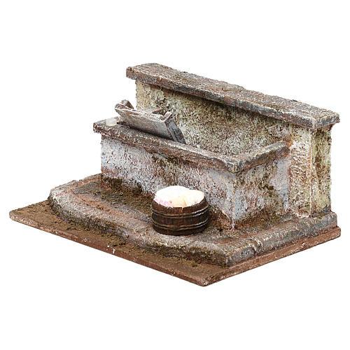 Lavandino con panni presepe 12 cm ambientazione 10x15x15 cm 3