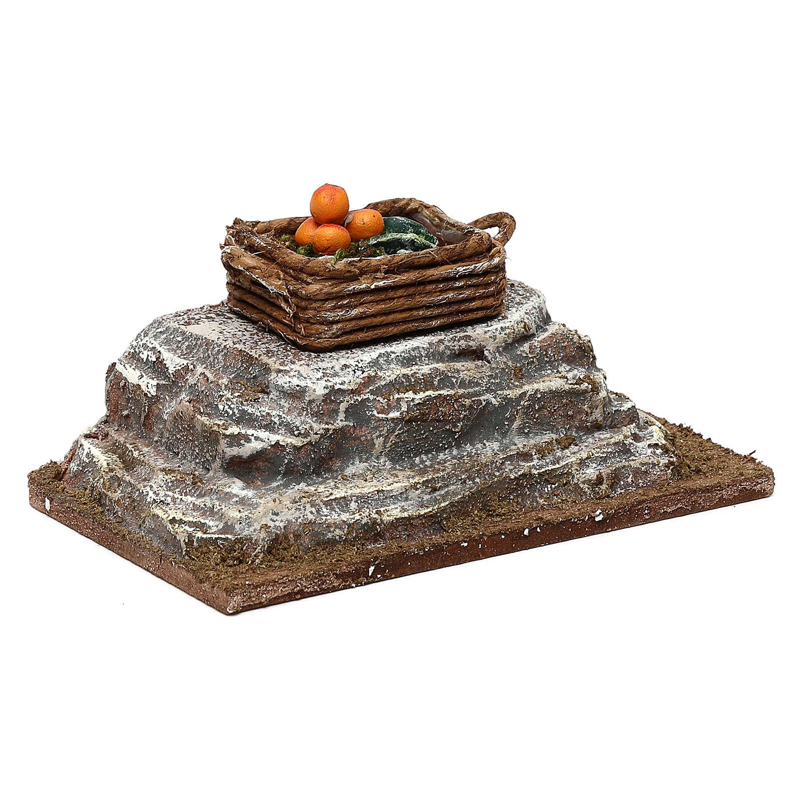 Cassetta su pietra presepe 12 cm ambientazione 6x12x6 cm 4