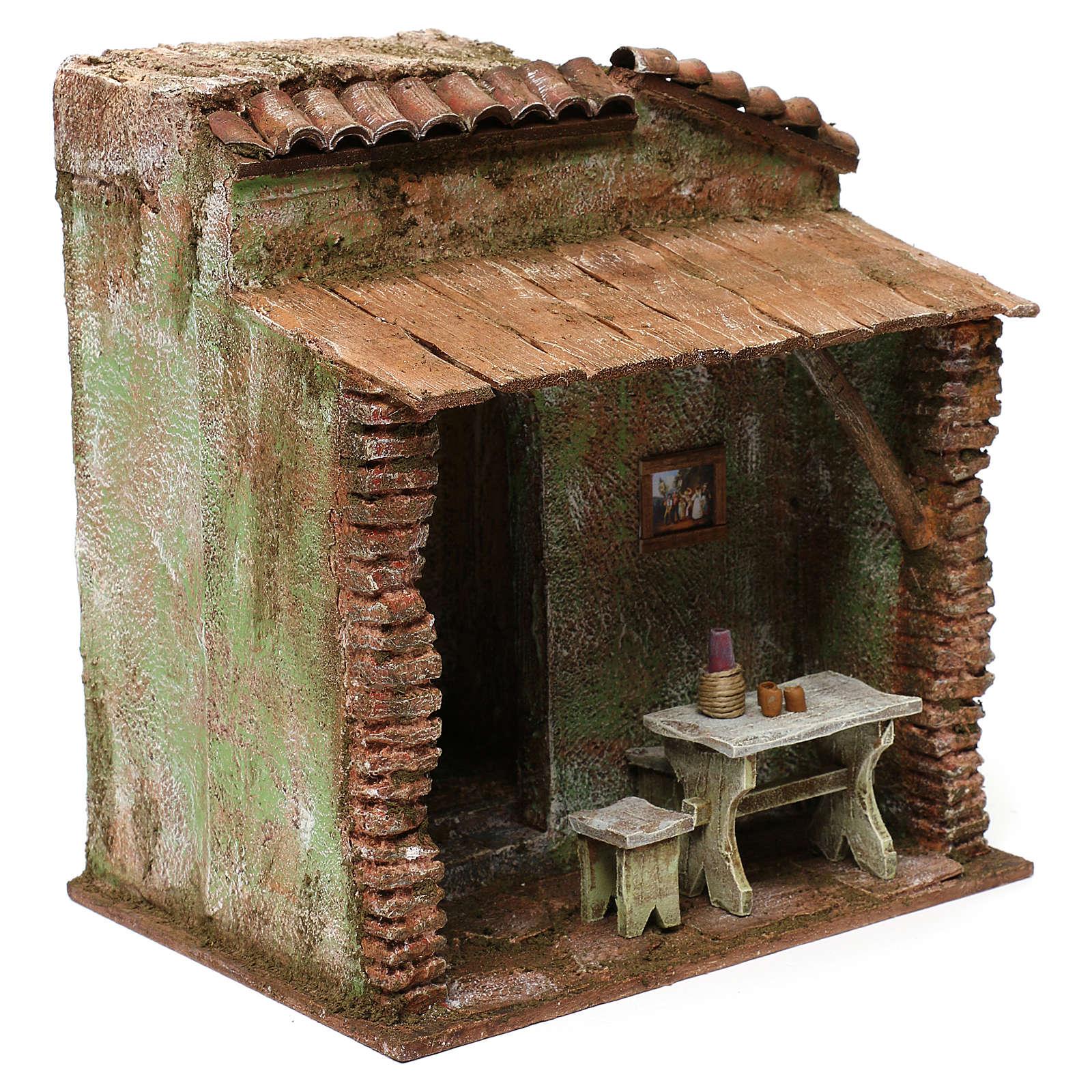 Osteria con tavolo e botte presepe 12 cm ambientazione 25x25x20 cm 4