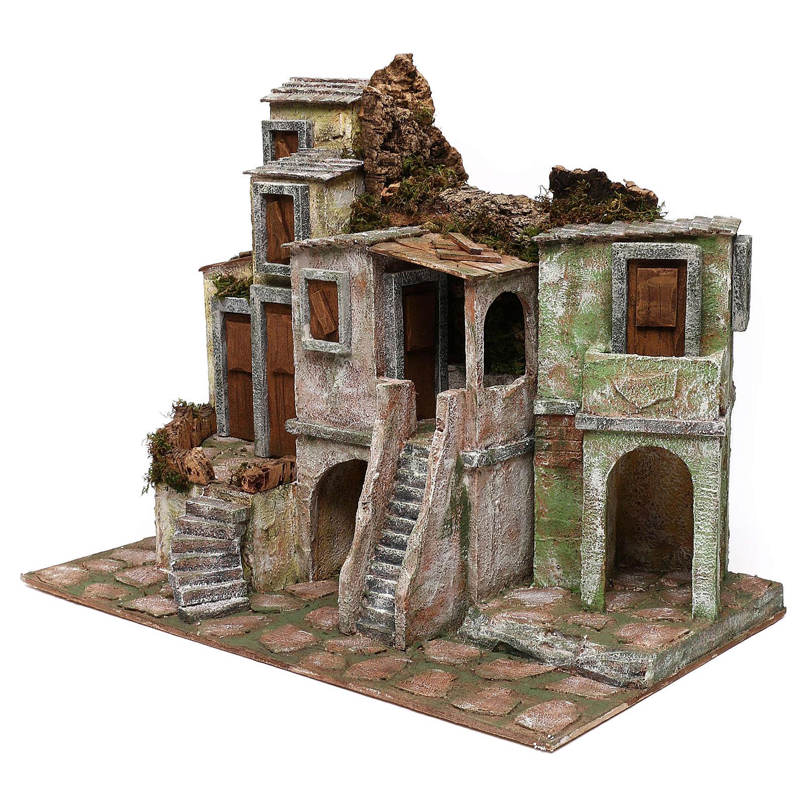Borgo di case presepe 10 cm ambientazione 40x50x30 cm 4