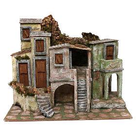Borgo di case presepe 10 cm ambientazione 40x50x30 cm s1