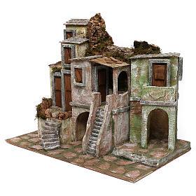 Borgo di case presepe 10 cm ambientazione 40x50x30 cm s2