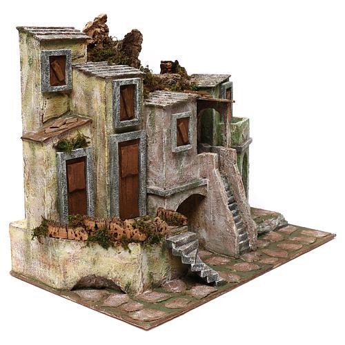 Borgo di case presepe 10 cm ambientazione 40x50x30 cm 3