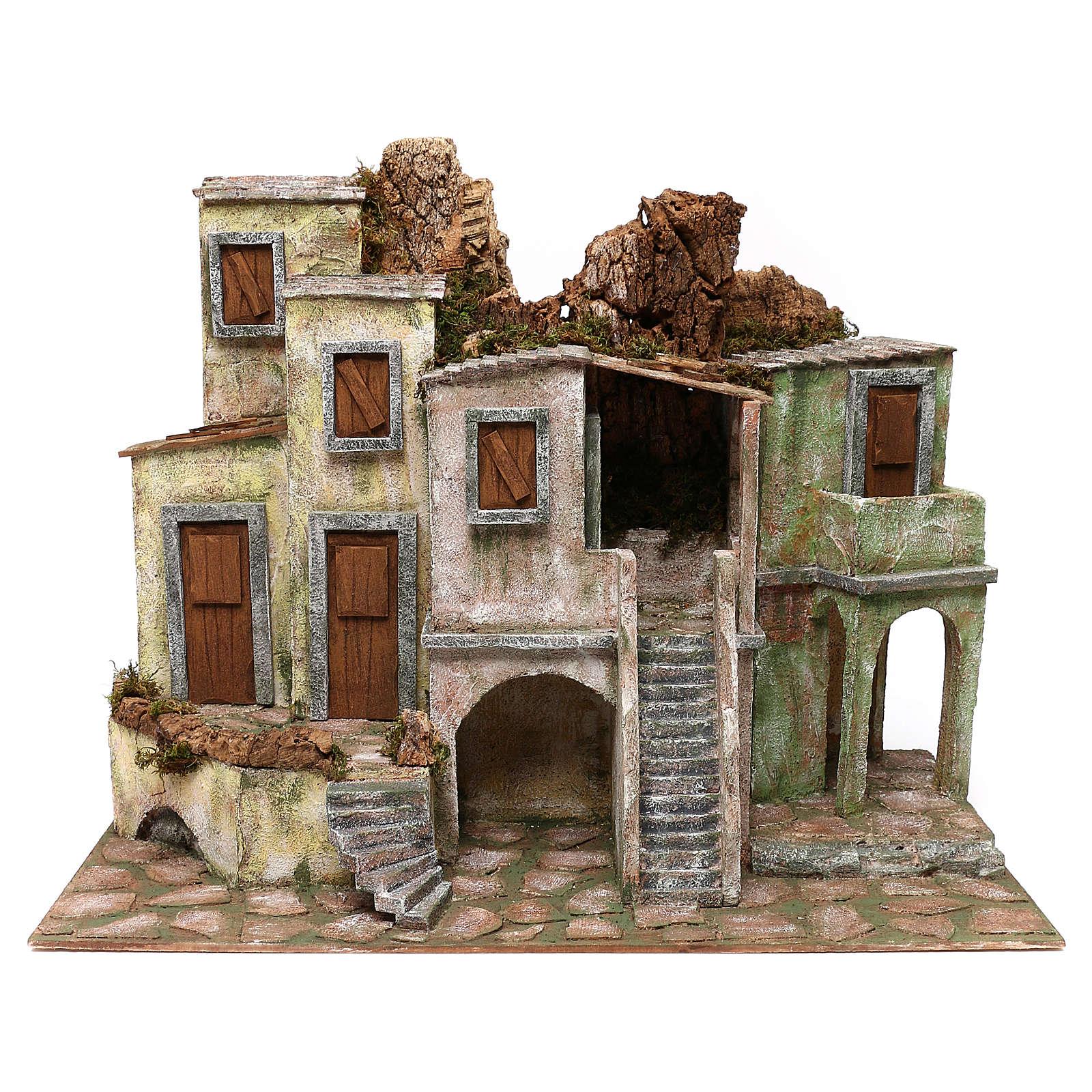Borgo cittadino presepe 12 cm ambientazione 45x60x35 cm 4