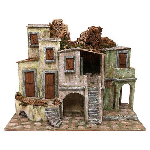 Borgo cittadino presepe 12 cm ambientazione 45x60x35 cm 1