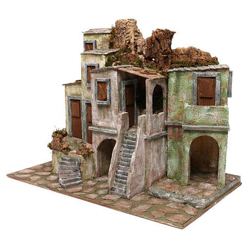Borgo cittadino presepe 12 cm ambientazione 45x60x35 cm 2