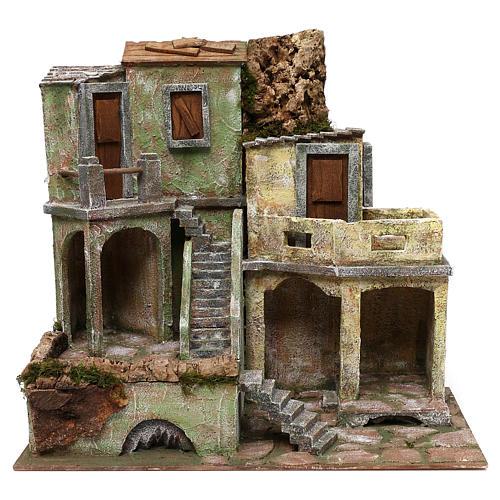 Gruppo di case presepe 12 cm ambientazione 45x50x25 cm  1
