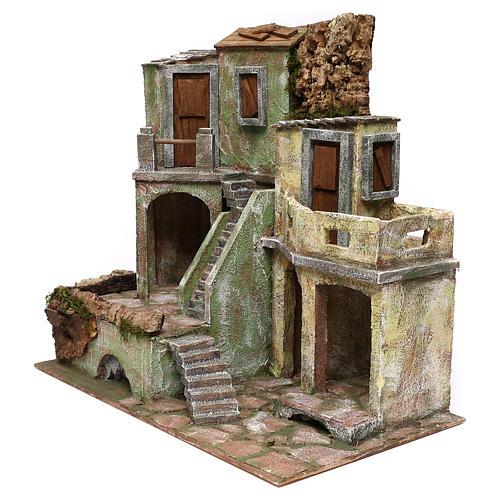 Gruppo di case presepe 12 cm ambientazione 45x50x25 cm  2
