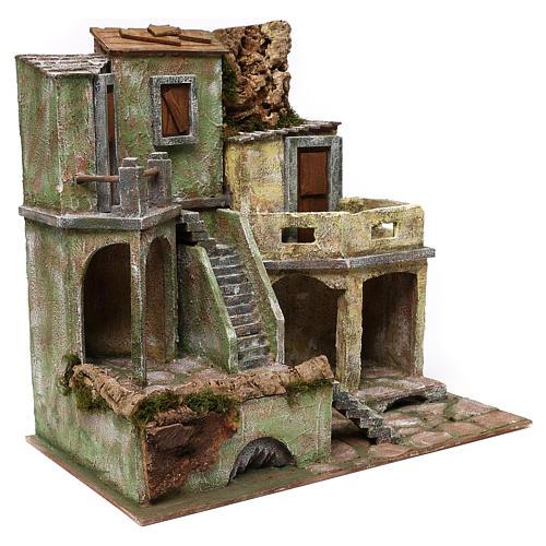 Gruppo di case presepe 12 cm ambientazione 45x50x25 cm  3