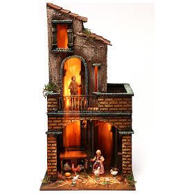 Presépio Napolitano: Casa com base quadrada com figuras de presépio napolitano