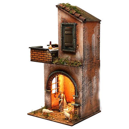 Caseggiato completo su due livelli illuminato presepe napoletano 2